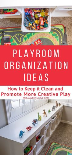 Playroom Organization Ideas that Work! How to keep the playroom clean and promote more creative play with your playroom setup and organization. Home Organization Hacks, Organizing Your Home, Organising, Organizing Ideas, Kids Storage, Toy Storage, Every Mom Needs, Room Setup, Creative Play