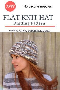 FREE knitting pattern for this Flat Knit Hat. Perfect for beginners- uses straight needles!