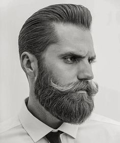 natural pompadour + beard with awesome mustache. Classic Mens Hairstyles, Cool Mens Haircuts, Men's Haircuts, Best Beard Styles, Hair And Beard Styles, Hair Styles, Handlebar Mustache, Beard No Mustache, Great Beards
