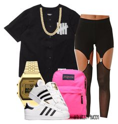 """School outfit , tired of this thing call school lol"" by trillest-queen ❤ liked on Polyvore featuring Idle Minds, Topshop, Pieces, JanSport and adidas"