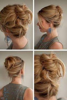 hair - hair romance: Messy high Twist and Pin hairstyle Twist Braid Hairstyles, My Hairstyle, Pretty Hairstyles, Wet Hairstyles, Hairstyles 2016, Hairstyle Ideas, Wedding Hairstyles, Coiffure Hair, Chignon Hair