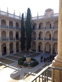 The courtyard of the rectorat at the University of Alcala in Alcala de Henares, Spain.