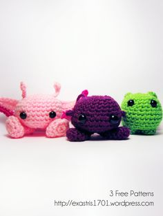 """Oh My! - 3 free patterns by Karissa Cole. Purploids and Pinkloids and Bloops. ea1701.wordpress.com  """"Purploids are great to go to for advice, Pinkloids are masters of the Right Words, so what is it Bloops do, you may ask? Typically they steal fresh laundry and try to nest in it."""" Haha, I love this blogger. ea1701.wordpress.com"""