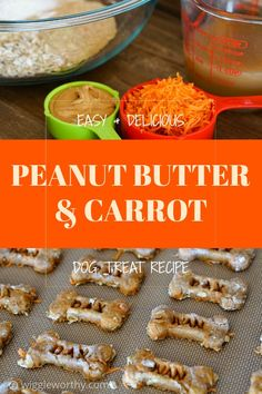 Easy peanut butter and carrot dog treats that are as healthy as they are tasty. With nutritious ingredients like carrots, rolled oats, wheat germ and bone broth, this recipe makes everyone happy. Easy Dog Treat Recipes, Healthy Dog Treats, Doggie Treats, Homemade Dog Cookies, Homemade Dog Food, Dog Biscuit Recipes, Dog Food Recipes, Grain Free Dog Food, Peanut Butter Dog Treats