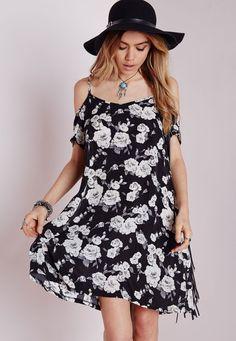 Strappy Cold Shoulder Swing Dress Black Floral - Dresses - Swing Dresses - Missguided