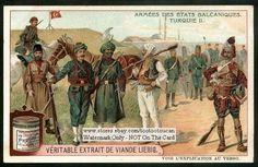 Balkan Army Military Uniforms Turkey WWI Era c1910 Card