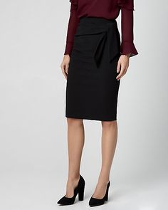 Knotted Knit Crêpe Pencil Skirt - Take on the office in style in this pencil skirt featuring a chic, knotted detail. Knots, High Waisted Skirt, Pencil, Blazer, Knitting, Chic, How To Make, Clothes, Politics