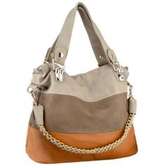 MG Collection ECE Beige Caramel Tri-tone Hobo Handbag w/ Shoulder Chain
