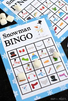 PRINTABLE SNOWMAN BINGO GAME...By Amber Print this free Snowman Bingo Game to play in the winter with the kids.