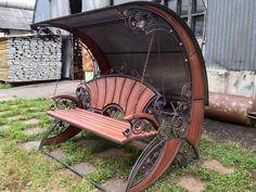 Art Nouveau Furniture, Metal Furniture, Garden Furniture, Tiled Staircase, Sacred Garden, Outdoor Furniture Plans, Wooden Swings, Scrap Metal Art, Iron Decor