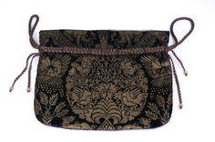 Mariano Fortuny Rare Black Stencilled Velvet Drawstring Bag image 2