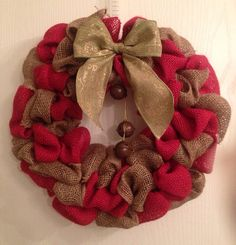 16 burlap Christmas wreath by NickiLynnDesigns on Etsy, $35.00