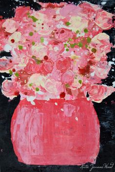 Giclee Print Abstract Still Life Floral Painting Wall Art Print Pink Yellow Roses Flowers Office Decor No 196 - pinned by pin4etsy.com