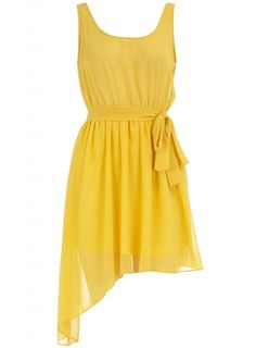 yellow angle cut dress