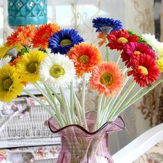 12 Unids Material 16''Fabric Gerbera Flores Artificiales de Seda Decoración de…