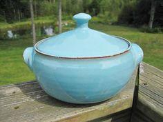 Pottery Casserole w Lid Turquoise Blue