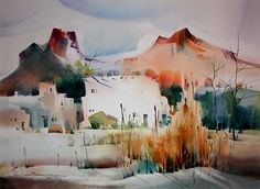 Galleries Near Sedona by sterling edwards Watercolor ~ 22 x 30