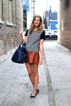 fall, texture, grey, black, t shirt style, flats, long hair, cobalt blue bag, brown leather mini skirt, simple