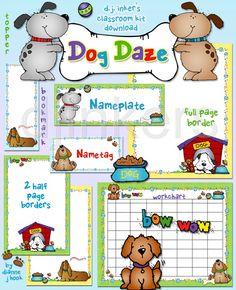 Dog Daze classroom printables & borders