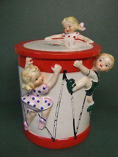 Vintage Yona Original Children Crawling Up Drum Cookie Jar, Japan/1957