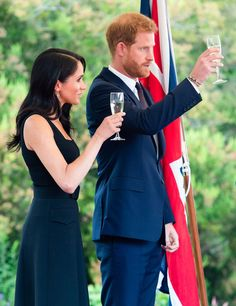 Meghan Markle has reportedly banned Prince Harry from drinking caffeine and booze. Pictured: The Duke and Duchess of Sussex toasting at a summer party in Dublin in July Meghan Markle, Duke And Duchess, Duchess Of Cambridge, Clean Face, Prince Harry And Meghan, Modest Dresses, British Royals, Family Meals, The Cure