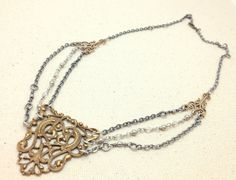 Antique Brass Filigree Necklace with Wire by RestlessArtMpls, $56.00