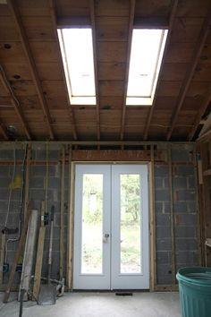 skylights 3 Ridge Beam, House Tweaking, Roller Shades, Mattress Covers, Diffused Light, Metal Roof, French Doors, Skylights, Windows