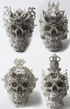 Porcelain Skull by Katsuyo Aoki. Memento Mori, Totenkopf Tattoos, 3d Prints, Vanitas, Skull And Bones, Skull Art, Dark Art, Sugar Skull, Cyberpunk