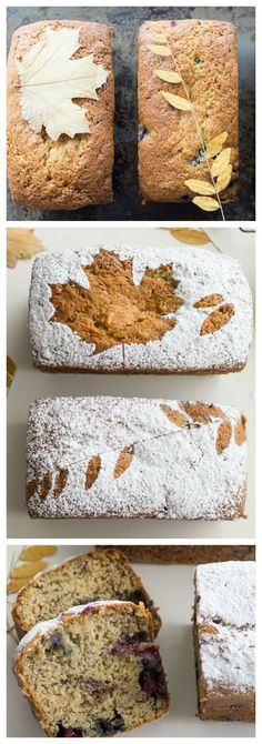 Banana Blueberry Bread | The most delicious banana bread... YUM!. . . Love the leaf affect but would make cranberry orange bread with it