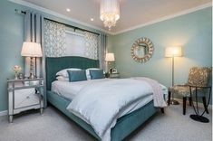 Get inspired by Glam Bedroom Design photo by VGA Designs. Wayfair lets you find the designer products in the photo and get ideas from thousands of other Glam Bedroom Design photos. Green Master Bedroom, Teal Bedroom Decor, Bedroom Turquoise, Glam Bedroom, Bedroom Paint Colors, Master Bedroom Design, Bedroom Ideas, Master Bedrooms, Bedroom Designs