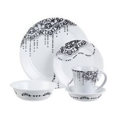 Set an elegant table with the threads and loops of black lace embellished with pearls in the Corelle Vintage Lace dinnerware collection.  sc 1 st  Pinterest & Corelle Squares Cherry Blossom 16-Piece Dinnerware Set I think this ...