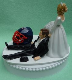 Wedding Cake Topper Columbus Blue Jackets Hockey Themed by WedSet, $59.99