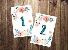 Watercolor Table Numbers 1-10 Printable Wedding by TheDoodleCoop