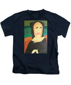 Patrick Francis Designer Kids Navy T-Shirt featuring the painting Mona Lisa - After Leonardo Da Vinci by Patrick Francis