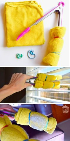 Stop using a feather duster to clean your blinds. A microfiber cloth and a pair of tongs make the job so much easier.