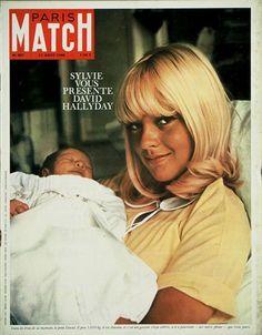 Sylvie Vartan holding her newly born son, David Hallyday. Paris Match. August 1966
