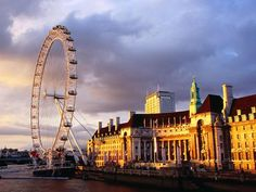 Evening Light Falls on the London Eye and County Hall, London, England