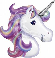 Unicorn BalloonThese super fun and trendy balloons are the perfect touch to any event! Balloons are shipped flat. Balloons may be air-filled OR filled with helium. Balloons can be re-inflated for reuse. Unicorn Balloon, Unicorn Head, Purple Unicorn, Magical Unicorn, Rainbow Unicorn, Pink Purple, Unicorn Cakes, Unicorn Fantasy, Ideas Para Fiestas