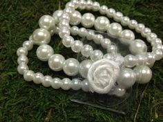 White Pearl Corsage  Wristlet by PetalandForrest on Etsy