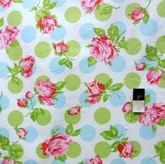Tanya Whelan FATW002 Sugar Hill Falling Roses Blue Flannel Fabric By Yd