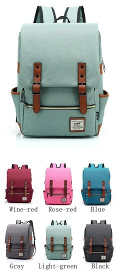 Vintage Travel Backpack Leisure Canvas With Leather Backpack amp Schoolbag  only…  travelbackpack Lace Backpack 2d95007364