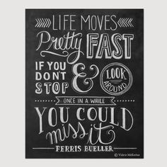 Ferris Buellers Day Off Movie Poster  Life Moves by LilyandVal, $19.00