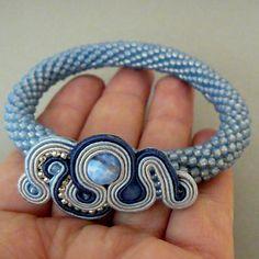 blue bracelet, soutache and beading