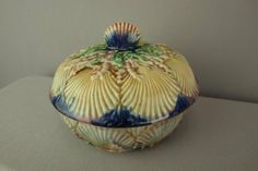 "RARE Tenuous majolica shells covered butter dish, very rare maker 6"" deep"
