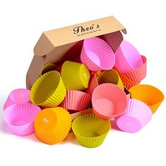 Theos Bakeware Silicone Cupcake Liners 24 Pack Muffin Cups 4 Colors Baking Molds Reusable  Nonstick *** You can find more details by visiting the affiliate link Amazon.com.
