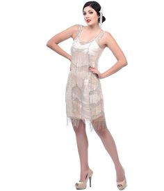 Pale Apricot Velma Flapper Dress