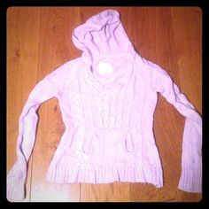 Lilac Sweater Pretty, sparkly lilac hooded sweater. Size 16 child but can fit a S adult. Justice Sweaters