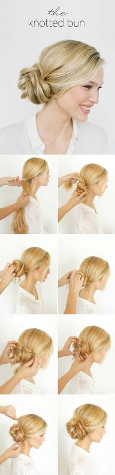 Best Hairstyles For Your -DIY Knotted Bun- Hair Dos And Don'ts For Your With The Best Haircuts For Women Over Including Short Hairstyle Ideas, Flattering Haircuts For Medium Length Hair, And Tips And Tricks For Taming Long Hair In Your L Medium Curls, Medium Hair Cuts, Medium Hair Styles, Curly Hair Styles, Step By Step Hairstyles, Straight Hairstyles, Cool Hairstyles, Hairstyle Ideas, Goddess Hairstyles