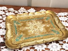 Gorgeous Florentine Tray in Light Blue and Gold by DaphsSmallWorld
