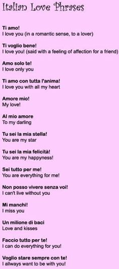 italian love phrases love phrases - I love you Brian! Italian Love Phrases, Italian Love Quotes, Italian Sayings, Beautiful Italian Words, Italian Quote Tattoos, Italian Grammar, Italian Vocabulary, Expression Populaire, Learn To Speak Italian